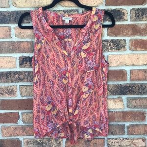 Lucky Brand Sleeveless Sheer blouse w/ tie front